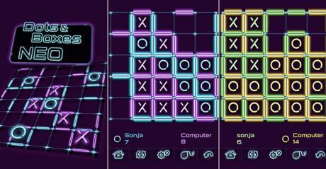 Dots & Boxes Neo - Käsekästchen im coolen Neon Design