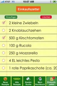 EatSmarter-App fehlende Zutaten auf dem Einkaufszettel