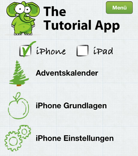 Tutorial App - Video-Handbuch Kategorien