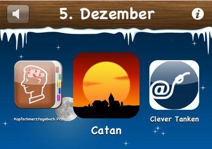 Weihnachstaktion - 5 Dezember 2011 - Catan, Kopfschmerztagebuch Pro und Clever Tanken